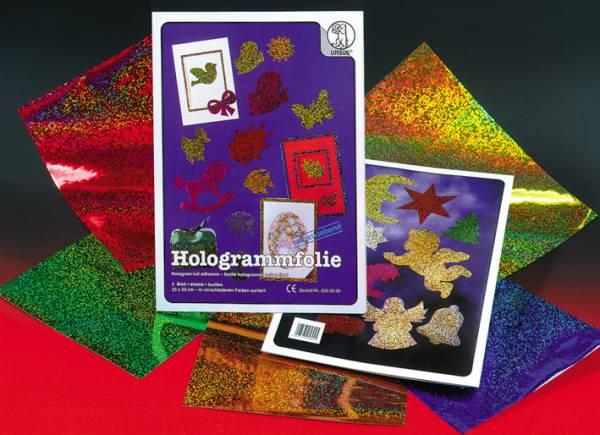URSUS Hologrammfolie 23x33cm 8390099 50my, 5 Farben ass. 5 Blatt