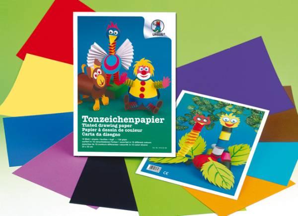 URSUS Tonzeichenpapier 23x33cm 8180099 130g, farbig ass. 10 Blatt