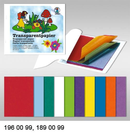 URSUS Transparentpapier 14×24cm 1960099 42g, 10 Farben ass.