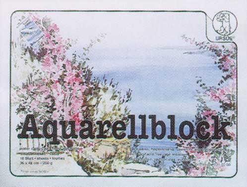 URSUS Aquarellpapier 36x48cm 9340000 200g, weiss 10 Blatt