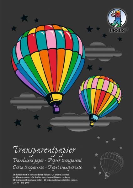 URSUS Transparentpapier-Block A4 12164699SE 115g, ass. 24 Blatt