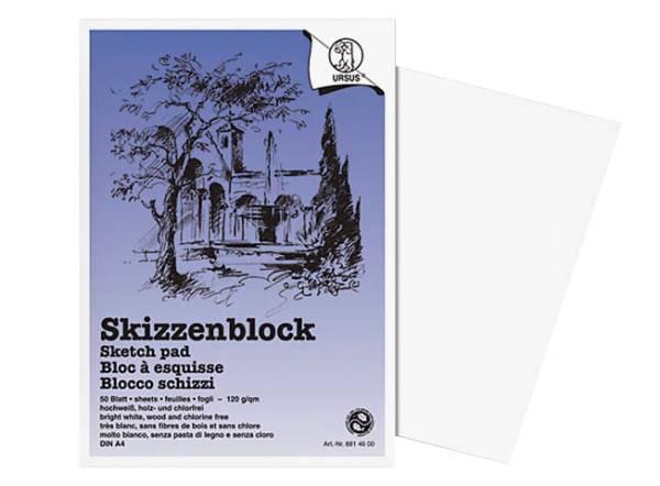 URSUS Skizzenpapier A4 8814600 120g, weiss 50 Blatt