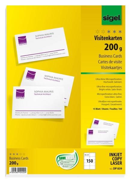 SIGEL Visitenkarten 85x55mm DP839 weiss, 200g doppels. 150 Stück