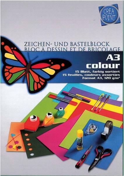 CREA-POINT Zeichenpapier A3 623009 120g, farbig 15 Blatt