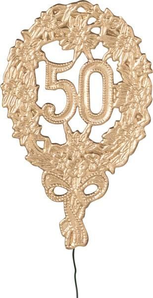 DEMMLER Deko-Zahl 50 1225500192 8x12cm gold