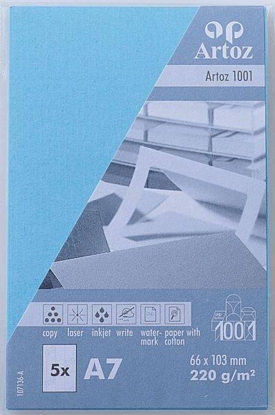 ARTOZ Visitenkarten 1001 A7 107136143 220g, azur 5 Blatt